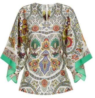 Etro Chiquitisi Floral Print Silk Crepe De Chine Top - Womens - White Print