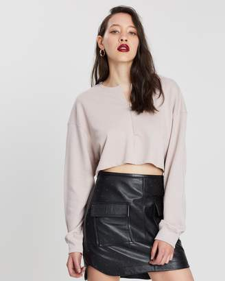 Missguided Zip-Front Crop Sweat