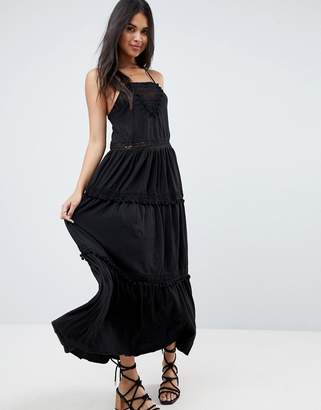 ASOS Maxi Dress with Lace Inserts & Pom Poms $60 thestylecure.com