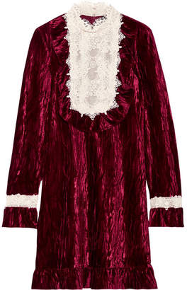 Anna Sui - To The One I Love Lace-trimmed Crushed-velvet Mini Dress - Burgundy