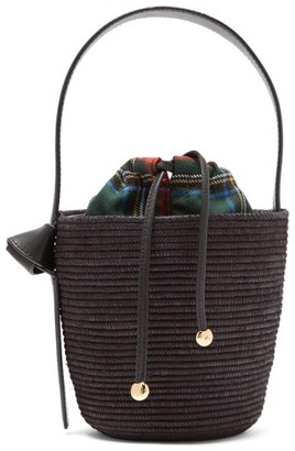 Cesta Collective - Leather Handle Sisal Basket Bag - Womens - Black Multi