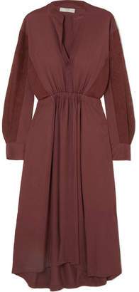 Vince Silk-paneled Gathered Crepe De Chine Dress - Burgundy