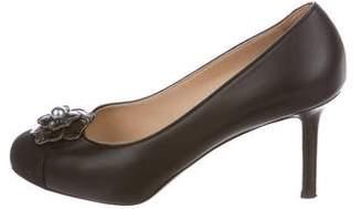 Chanel Camellia Cap-Toe Leather Pumps