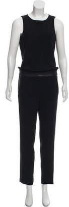 Rag & Bone Sleeveless Leather-Trim Jumpsuit