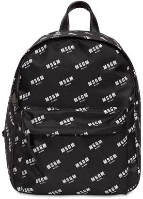 MSGM Logo Printed Nylon Canvas Backpack