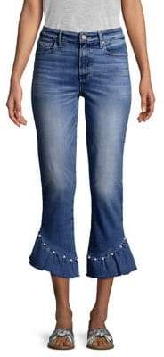 Paige Hoxton High-Rise Ankle Straight Pearl Ruffle Jeans