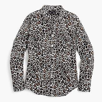 J.Crew Petite slim perfect shirt in leopard print