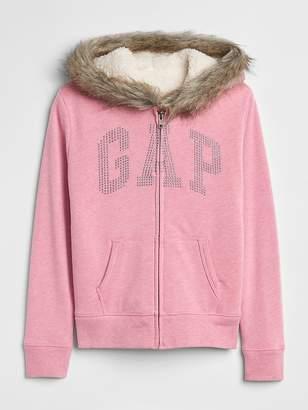 Gap Fur-Trim Logo Sherpa Hoodie Sweatshirt