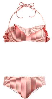 Fendi Frill Striped Seersucker Bikini Set - Womens - Orange Stripe