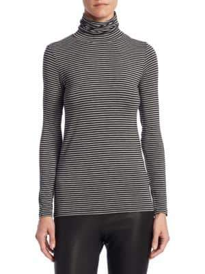 Majestic Filatures Soft Touch Striped Turtleneck Top