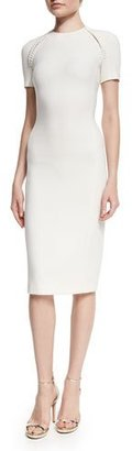 Ralph Lauren Collection Wool-Crepe Short-Sleeve Sheath Dress, Cream $2,290 thestylecure.com
