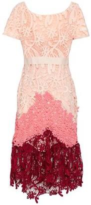 Maje Color-Block Lace Midi Dress