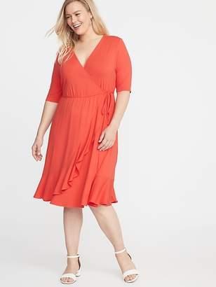 28591f383b48 Old Navy Waist-Defined Faux-Wrap Jersey Plus-Size Dress