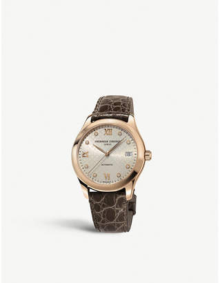 Frederique Constant FC-303LGD3B4 Ladies Automatic diamond, rose gold-plated stainless steel and leather watch