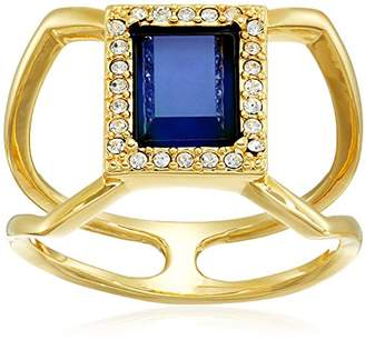 Color Changing 18k Gold Plated Bronze Rectangular Halo Czech and Created Crystal Modern Mood Ring