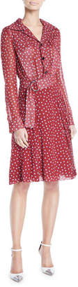 Derek Lam Long-Sleeve Button-Front Belted Dot-Print Silk Shirtdress