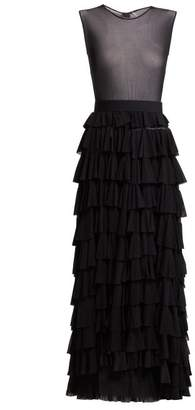Norma Kamali Tiered Tulle Dress - Womens - Black