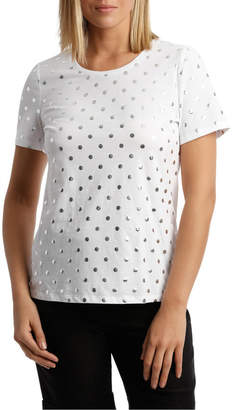 Essential Short Sleeve Tee White Base Silver Foil Spot Print