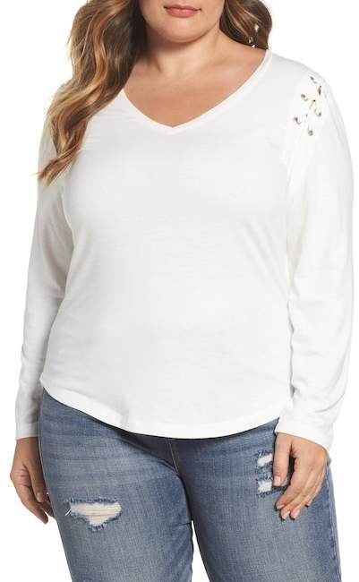 Rebel X Angels Lace-Up Shoulder Fitted Tee (Plus Size)