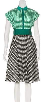 Lela Rose Gingham Midi Dress