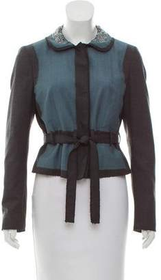 Philosophy di Alberta Ferretti Wool-Paneled Silk Jacket