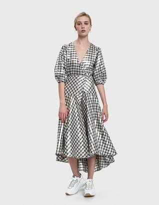 Ganni Lagarde Silk Lame Wrap Dress