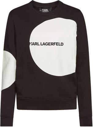Karl Lagerfeld Paris Dots Logo Printed Cotton Sweatshirt