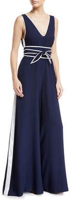 Diane von Furstenberg V-Neck Sleeveless Wide-Leg Jumpsuit