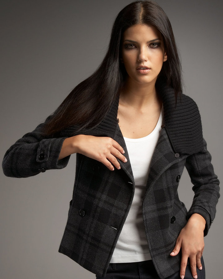 Theory Plaid Short Jacket