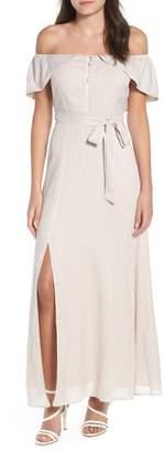 4SI3NNA Off-Shoulder Tie Waist Maxi Dress