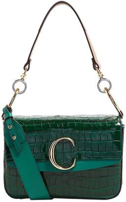 Chloé Small Double Handle Croc-Effect Leather C Bag