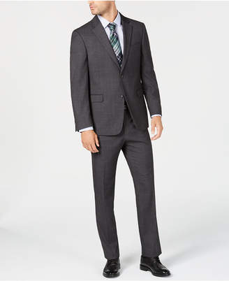 Tommy Hilfiger Men's Modern-Fit THFlex Stretch Gray Windowpane Suit