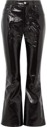 Beaufille Veritas Cropped Vinyl Flared Pants - Black