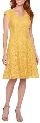 Liz Claiborne Cap Sleeve Floral Lace Fit & Flare Dress