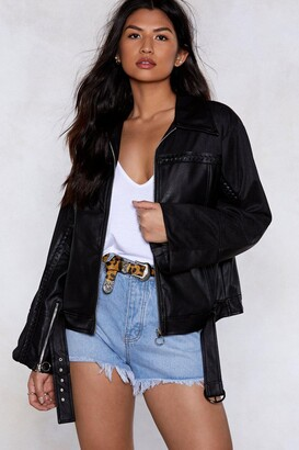 Nasty Gal Come Along For the Ride Vegan Leather Moto Jacket
