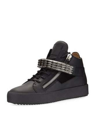 Giuseppe Zanotti Men's Stan Suede & Leather Mid-Top Sneakers