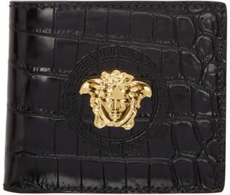 Versace Black Croc Medusa Wallet