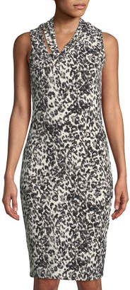Rachel Roy Axel Twist-Neck Leopard-Print Sheath Dress
