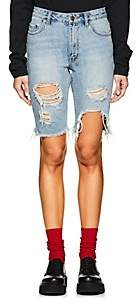 Ksubi Women's App-Laye Long Distressed Denim Shorts - Blue