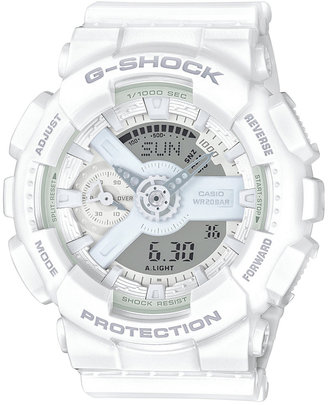 G-Shock Women's Analog-Digital Whiteout White Bracelet Watch 49x46mm GMAS110CM7A1 $130 thestylecure.com