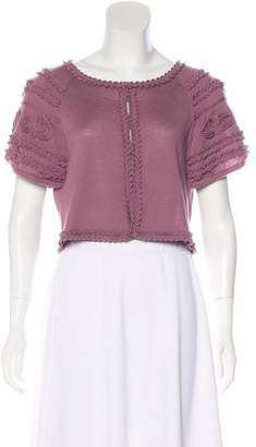 Alberta Ferretti Virgin Wool Short Sleeve Cardigan