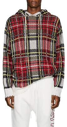 R 13 Men's Plaid Birdseye-Knit Cashmere Hoodie - Red