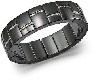 Luce Roberto Demeglio 18K White Gold & Black Ceramic Domino Rectangular Stretch Bracelet with Diamonds