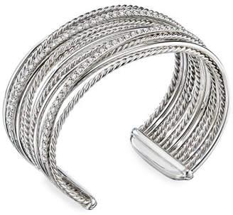 David Yurman DY Crossover Cuff Bracelet w/ Diamonds, Size Large