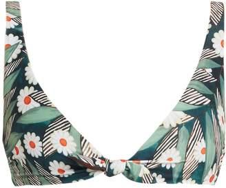 Mara Hoffman Daisy-print tie-front bikini top