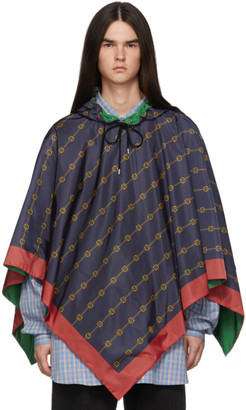 Gucci Navy Hooded Poncho