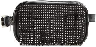 Steve Madden Studded Fringe Faux Leather Belt Bag
