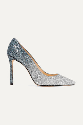 Jimmy Choo Romy 100 Dégradé Glittered Suede Pumps - Silver