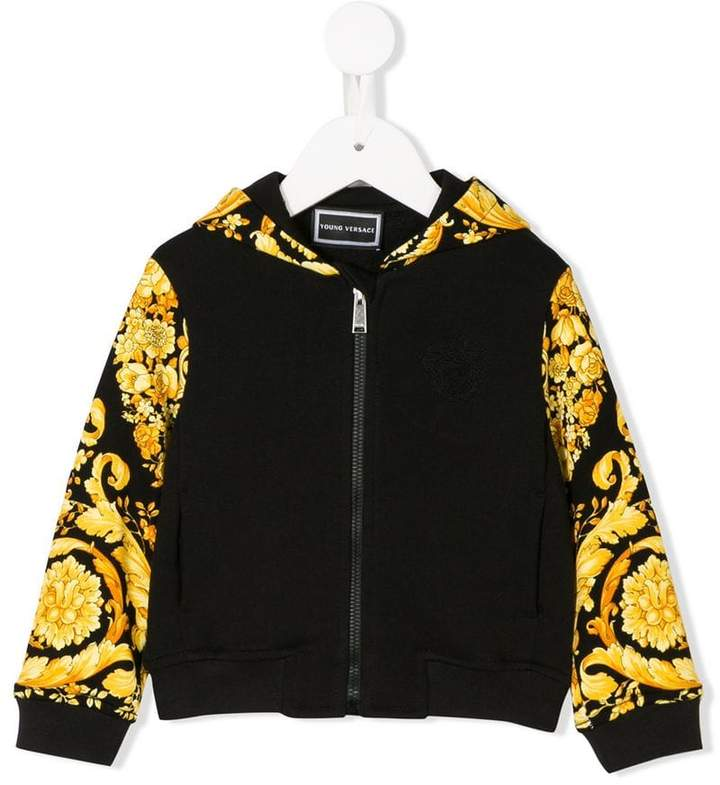 Young Versace printed zipped hoodie