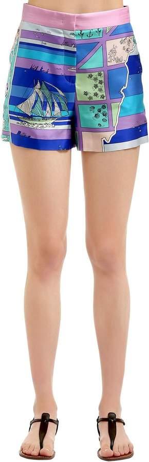Bedruckte Shorts Aus Seidentwill